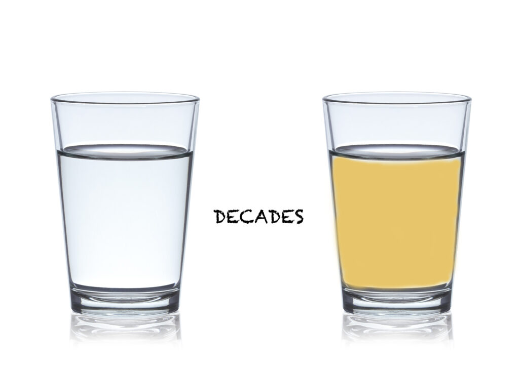 Cataract development is like slowly pouring coffee in a glass of water.  It slowly changes color over time.