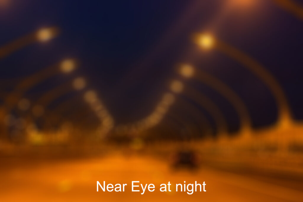 near eye with monovision has a blur at a distance which is only an issue at night